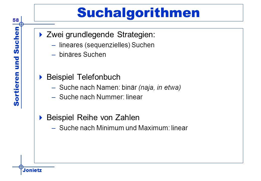 Jonietz Sortieren und Suchen 58 Suchalgorithmen Zwei grundlegende Strategien: –lineares (sequenzielles) Suchen –binäres Suchen Beispiel Telefonbuch –S