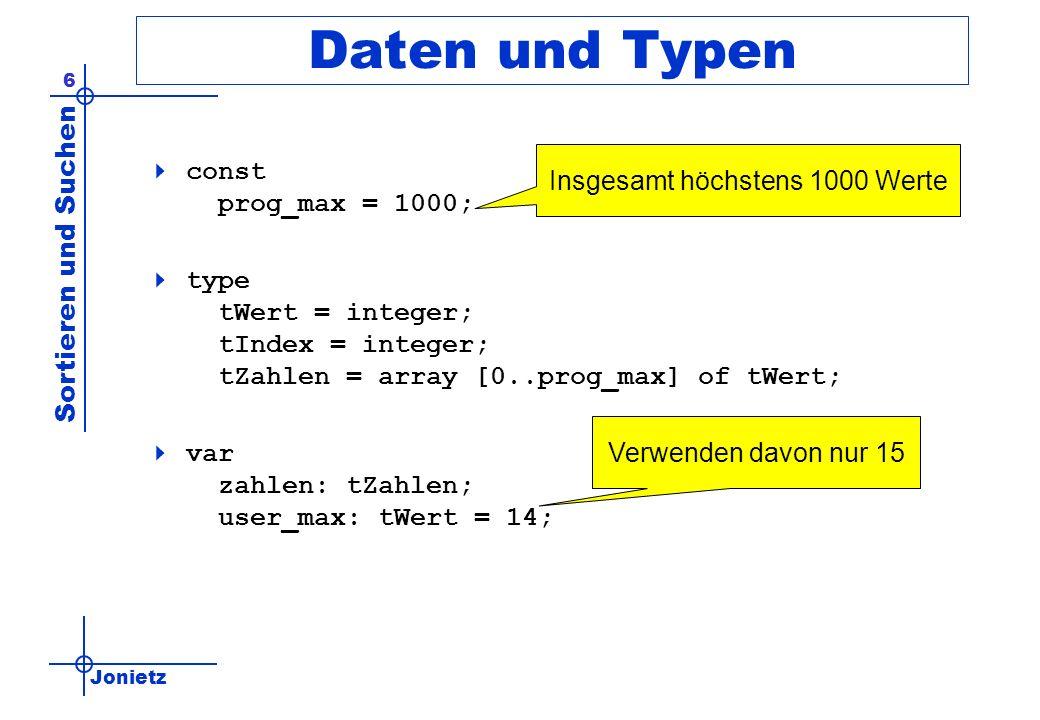 Jonietz Sortieren und Suchen 6 Daten und Typen const prog_max = 1000; type tWert = integer; tIndex = integer; tZahlen = array [0..prog_max] of tWert;