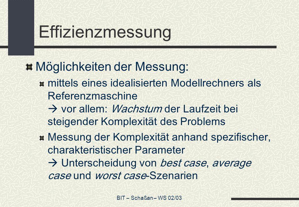 BIT – Schaßan – WS 02/03 Effizienzmessung Möglichkeiten der Messung: mittels eines idealisierten Modellrechners als Referenzmaschine vor allem: Wachst