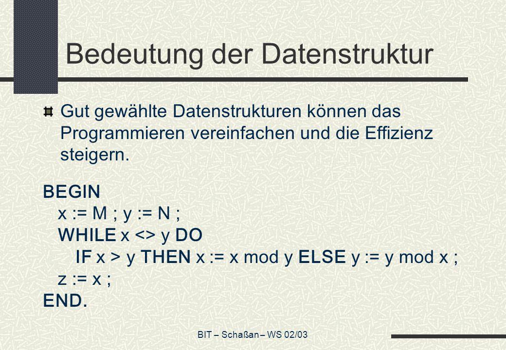 BIT – Schaßan – WS 02/03 Bedeutung der Datenstruktur Gut gewählte Datenstrukturen können das Programmieren vereinfachen und die Effizienz steigern. BE