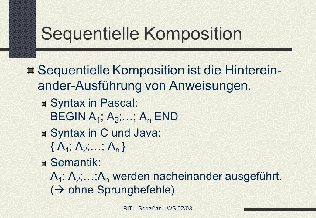 BIT – Schaßan – WS 02/03 Sequentielle Komposition Sequentielle Komposition ist die Hinterein- ander-Ausführung von Anweisungen. Syntax in Pascal: BEGI
