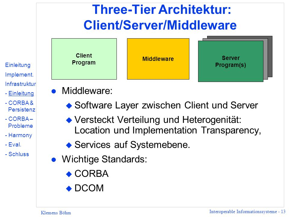 Interoperable Informationssysteme - 13 Klemens Böhm Three-Tier Architektur: Client/Server/Middleware l Middleware: u Software Layer zwischen Client un