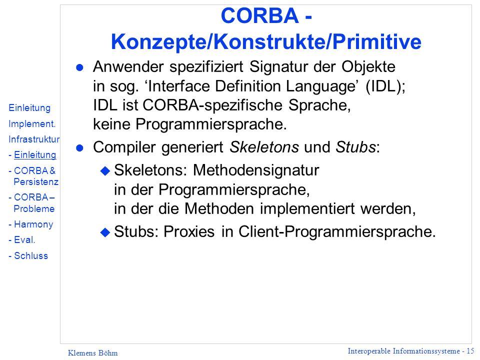 Interoperable Informationssysteme - 15 Klemens Böhm CORBA - Konzepte/Konstrukte/Primitive l Anwender spezifiziert Signatur der Objekte in sog.