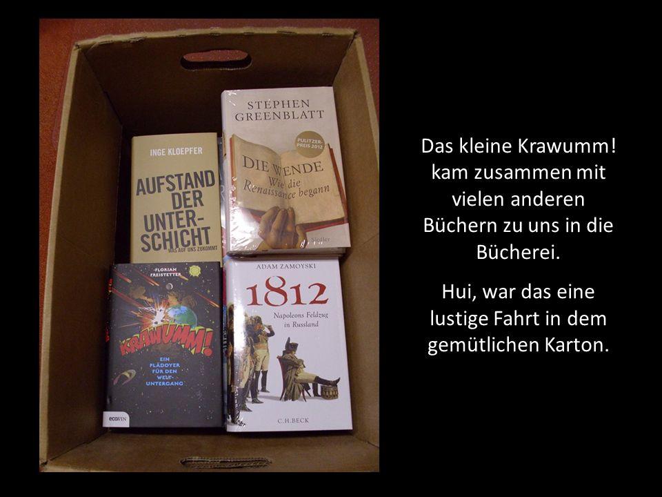 Das kleine Krawumm! kam zusammen mit vielen anderen Büchern zu uns in die Bücherei. Hui, war das eine lustige Fahrt in dem gemütlichen Karton.