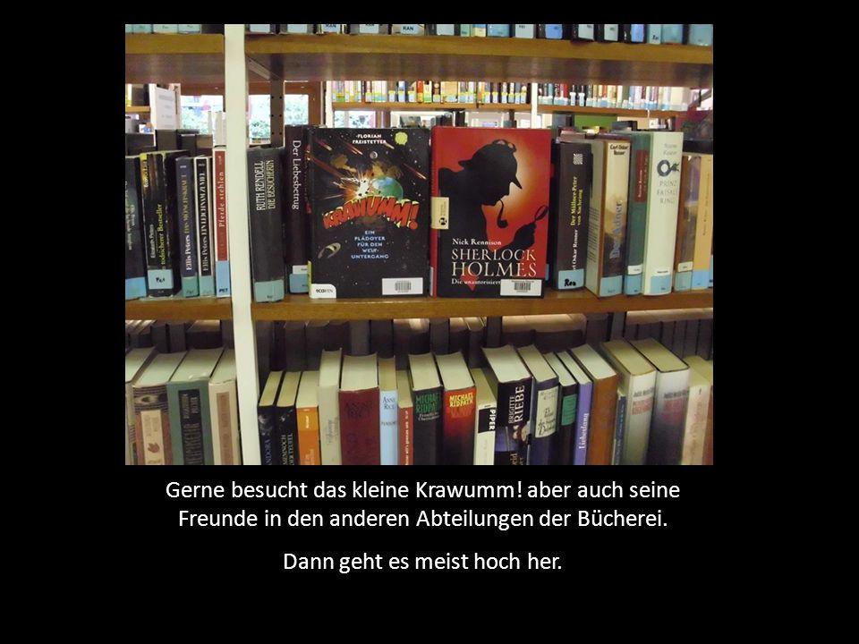 Gerne besucht das kleine Krawumm! aber auch seine Freunde in den anderen Abteilungen der Bücherei. Dann geht es meist hoch her.