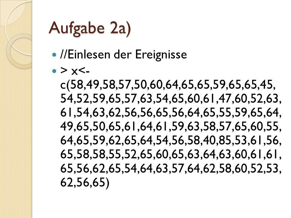 Aufgabe 2a) //Ereignisse in tabellierter Form darstellen > table(x) 40454749505253545556 1112242537 57585960616263646585 47577579201