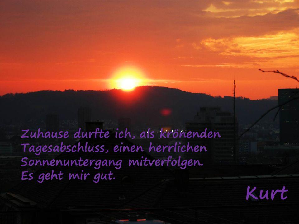 Zuhause durfte ich, als krönenden Tagesabschluss, einen herrlichen Sonnenuntergang mitverfolgen.