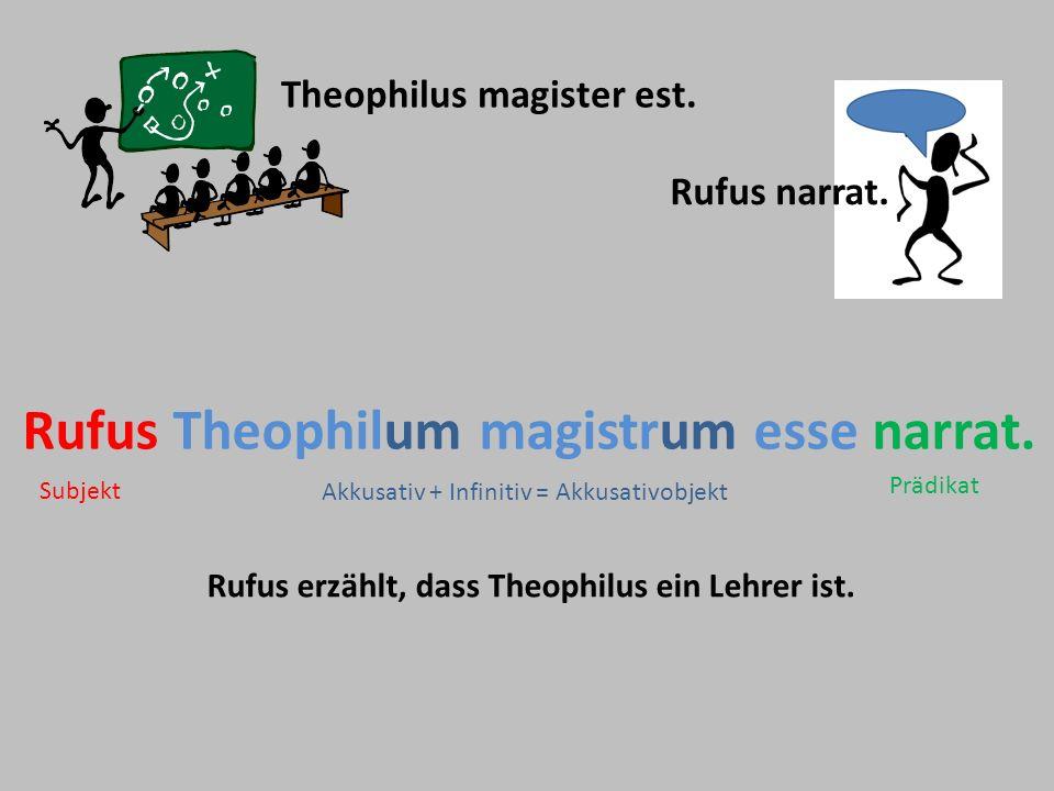 Theophilus magister est. Rufus narrat. Rufus Theophilum magistrum esse narrat. Rufus erzählt, dass Theophilus ein Lehrer ist. Akkusativ + Infinitiv =
