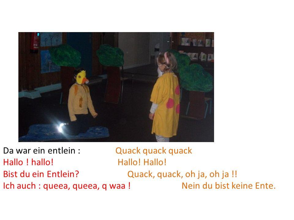 Da war ein entlein : Quack quack quack Hallo ! hallo! Hallo! Hallo! Bist du ein Entlein? Quack, quack, oh ja, oh ja !! Ich auch : queea, queea, q waa