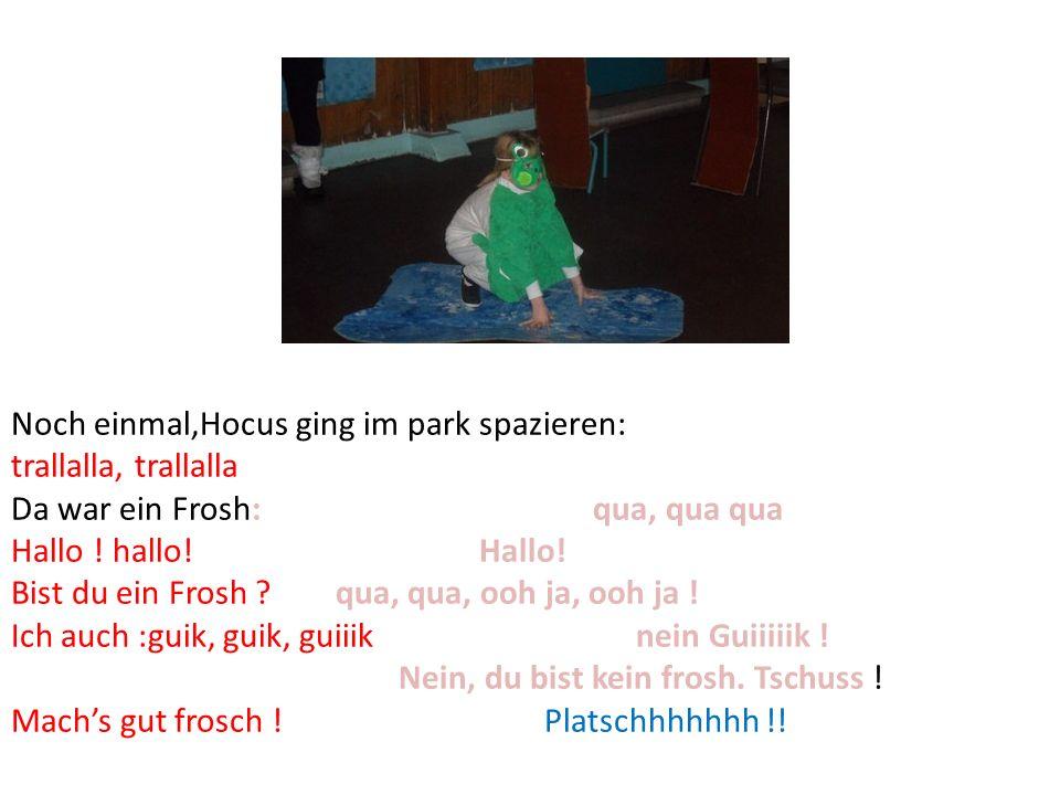 Noch einmal,Hocus ging im park spazieren: trallalla, trallalla Da war ein Frosh: qua, qua qua Hallo ! hallo! Hallo! Bist du ein Frosh ? qua, qua, ooh