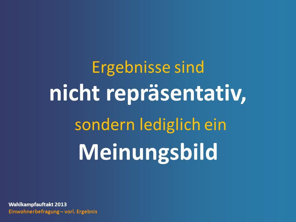 Wahlkampfauftakt 2013 Einwohnerbefragung – vorl.Ergebnis Themen, die Ihnen wichtig sind.