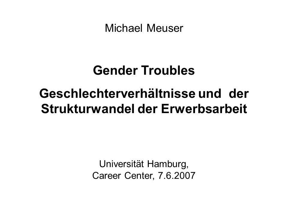 Michael Meuser Gender Troubles Geschlechterverhältnisse und der Strukturwandel der Erwerbsarbeit Universität Hamburg, Career Center, 7.6.2007