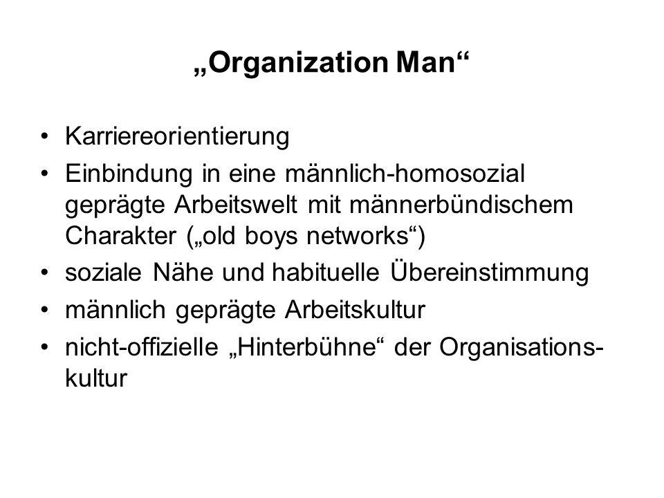 Organization Man Karriereorientierung Einbindung in eine männlich-homosozial geprägte Arbeitswelt mit männerbündischem Charakter (old boys networks) s