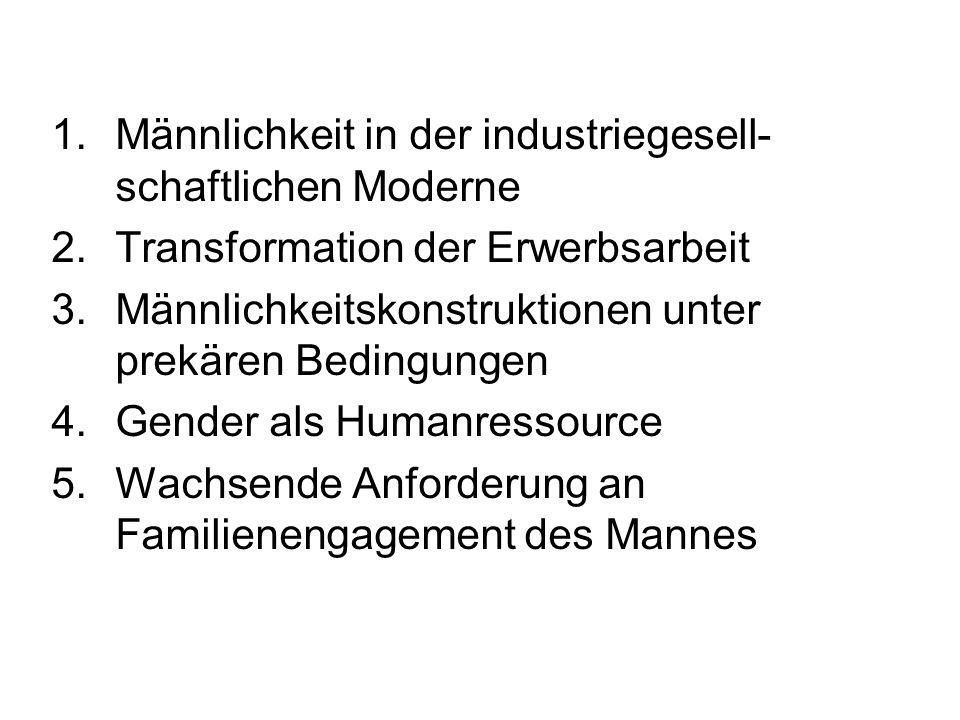 1.Männlichkeit in der industriegesell- schaftlichen Moderne 2.Transformation der Erwerbsarbeit 3.Männlichkeitskonstruktionen unter prekären Bedingunge