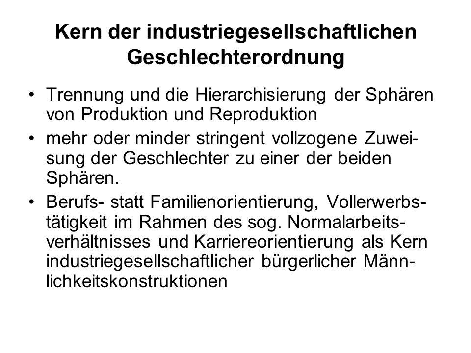 Kern der industriegesellschaftlichen Geschlechterordnung Trennung und die Hierarchisierung der Sphären von Produktion und Reproduktion mehr oder minde