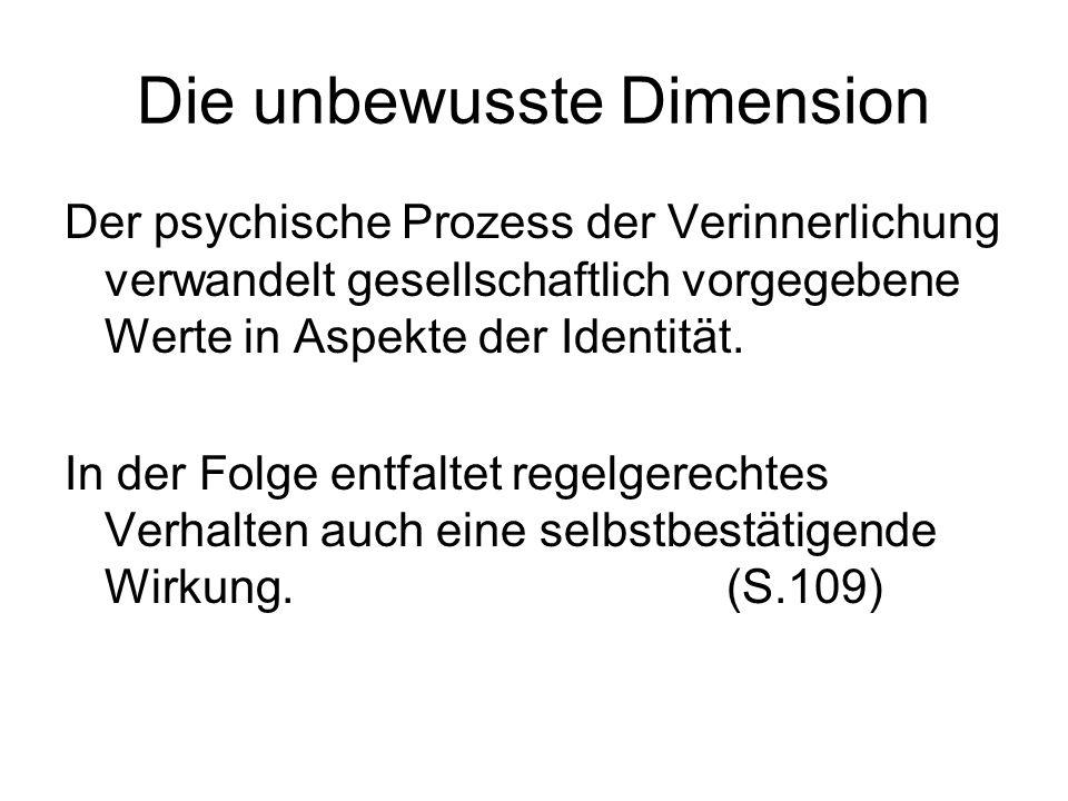 Die unbewusste Dimension Der psychische Prozess der Verinnerlichung verwandelt gesellschaftlich vorgegebene Werte in Aspekte der Identität. In der Fol