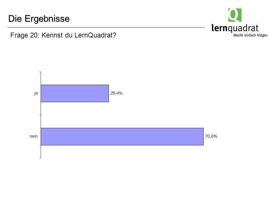 Frage 20: Kennst du LernQuadrat? Die Ergebnisse