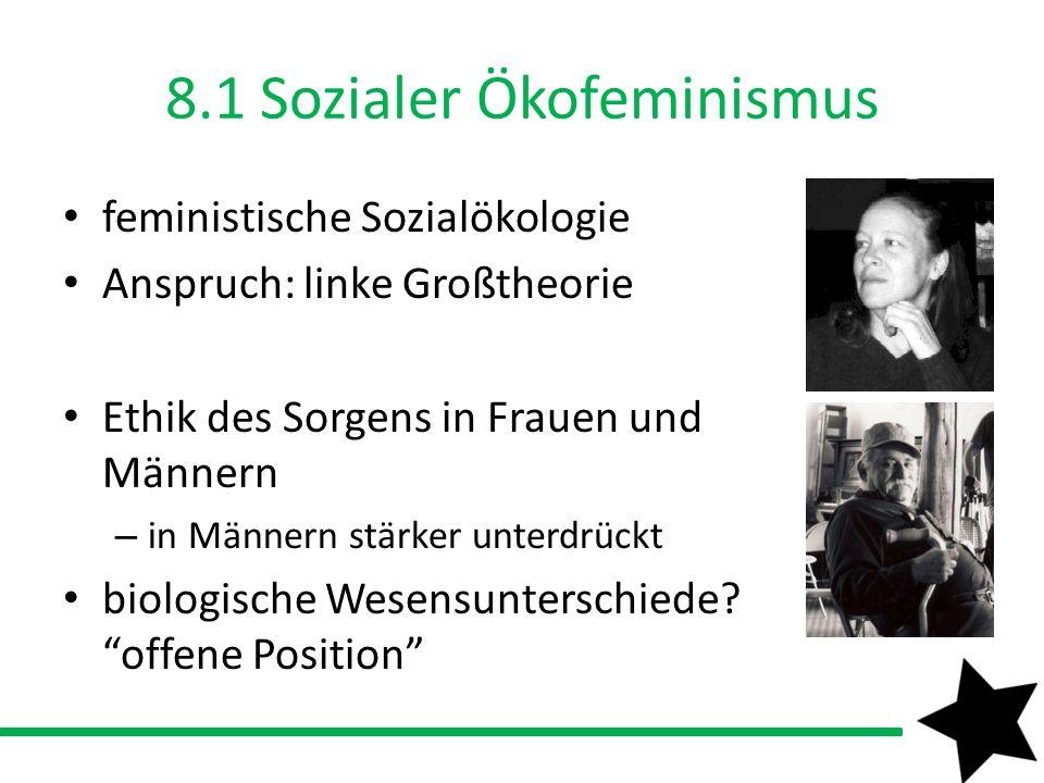 8.1 Sozialer Ökofeminismus feministische Sozialökologie Anspruch: linke Großtheorie Ethik des Sorgens in Frauen und Männern – in Männern stärker unter