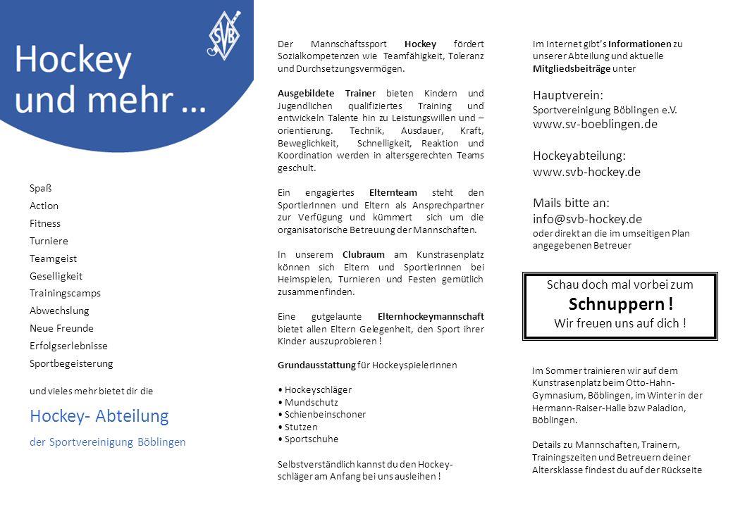 SV Böblingen - Abteilung Hockey Altersklassen, Trainingszeiten, Trainer, Betreuer Hallensaison 2013/2014 H1/H2=Hermann Raiser Hallen, OHG=Otto Hahn Gymn.