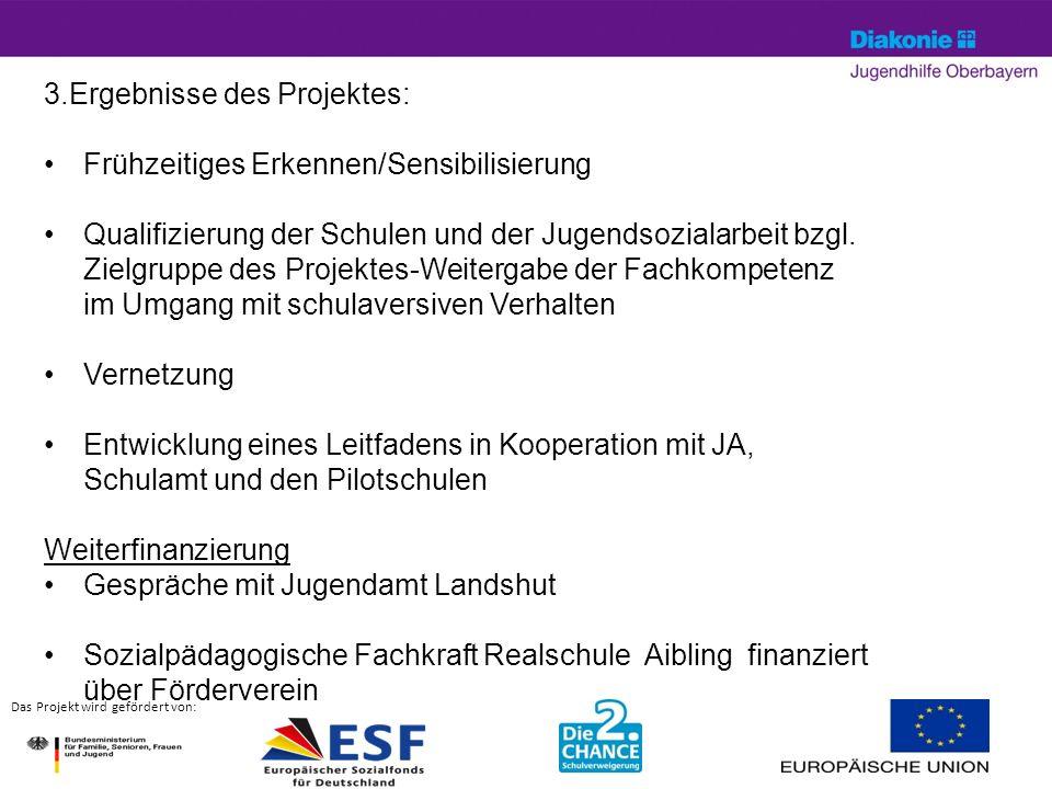 April 14© Silke Hartung13 Das Projekt wird gefördert von: 3.Ergebnisse des Projektes: Frühzeitiges Erkennen/Sensibilisierung Qualifizierung der Schulen und der Jugendsozialarbeit bzgl.