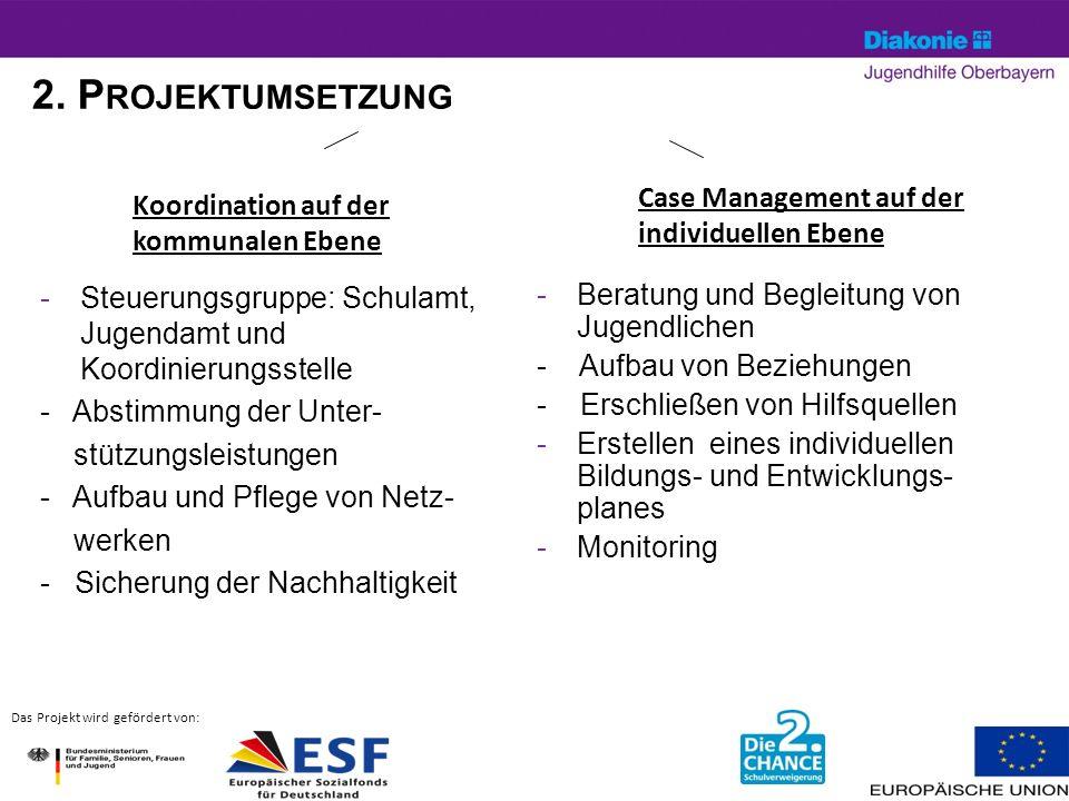 2. P ROJEKTUMSETZUNG -Steuerungsgruppe: Schulamt, Jugendamt und Koordinierungsstelle - Abstimmung der Unter- stützungsleistungen - Aufbau und Pflege v