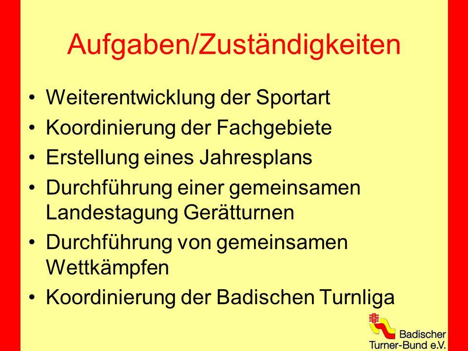 Aufgaben/Zuständigkeiten Weiterentwicklung der Sportart Koordinierung der Fachgebiete Erstellung eines Jahresplans Durchführung einer gemeinsamen Landestagung Gerätturnen Durchführung von gemeinsamen Wettkämpfen Koordinierung der Badischen Turnliga
