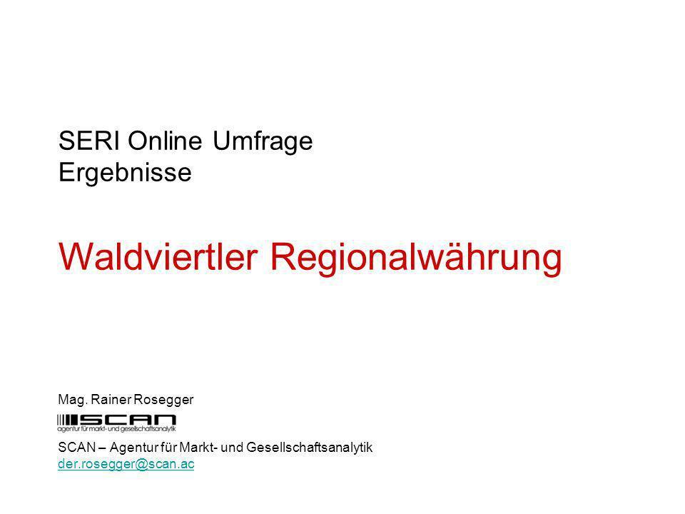 SERI Online Umfrage Ergebnisse Waldviertler Regionalwährung Mag.