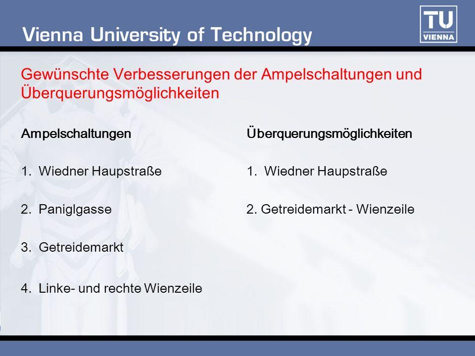 Gewünschte Verbesserungen der Ampelschaltungen und Überquerungsmöglichkeiten Ampelschaltungen 1.Wiedner Haupstraße 2.Paniglgasse 3.Getreidemarkt 4.Linke- und rechte Wienzeile Überquerungsmöglichkeiten 1.Wiedner Haupstraße 2.