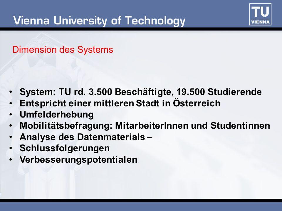 Dimension des Systems System: TU rd. 3.500 Beschäftigte, 19.500 Studierende Entspricht einer mittleren Stadt in Österreich Umfelderhebung Mobilitätsbe