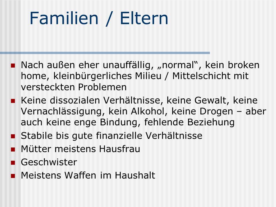 Familien / Eltern Nach außen eher unauffällig, normal, kein broken home, kleinbürgerliches Milieu / Mittelschicht mit versteckten Problemen Keine diss