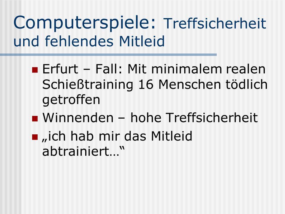 Computerspiele: Treffsicherheit und fehlendes Mitleid Erfurt – Fall: Mit minimalem realen Schießtraining 16 Menschen tödlich getroffen Winnenden – hoh