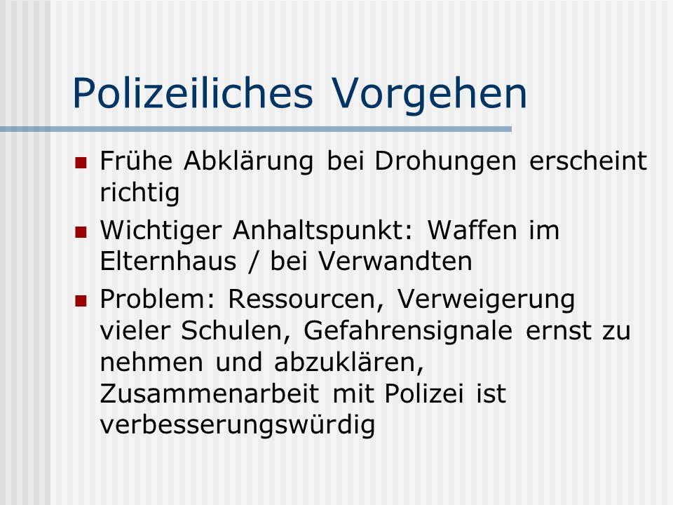 Polizeiliches Vorgehen Frühe Abklärung bei Drohungen erscheint richtig Wichtiger Anhaltspunkt: Waffen im Elternhaus / bei Verwandten Problem: Ressourc