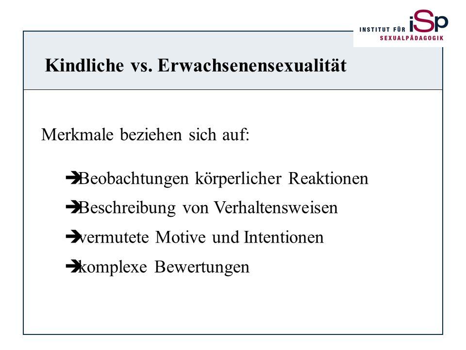 Kindliche vs. Erwachsenensexualität Merkmale beziehen sich auf: Beobachtungen körperlicher Reaktionen Beschreibung von Verhaltensweisen vermutete Moti