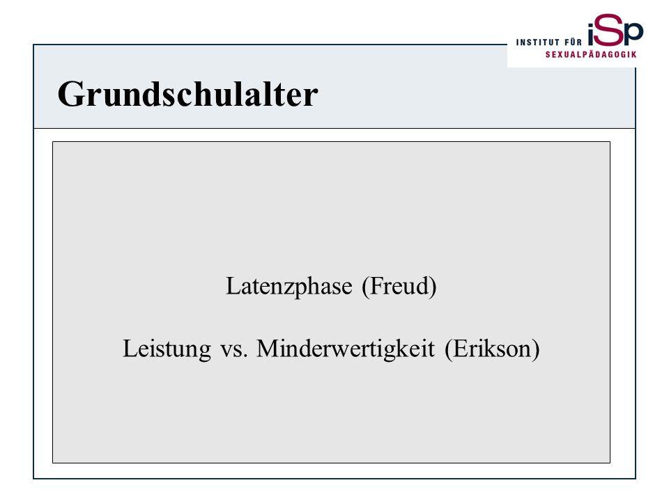 Grundschulalter Latenzphase (Freud) Leistung vs. Minderwertigkeit (Erikson)