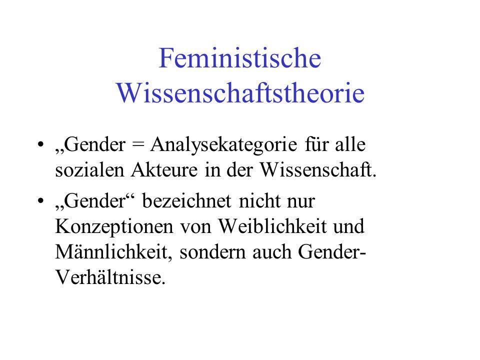 Feministische Wissenschaftstheorie Gender = Analysekategorie für alle sozialen Akteure in der Wissenschaft. Gender bezeichnet nicht nur Konzeptionen v