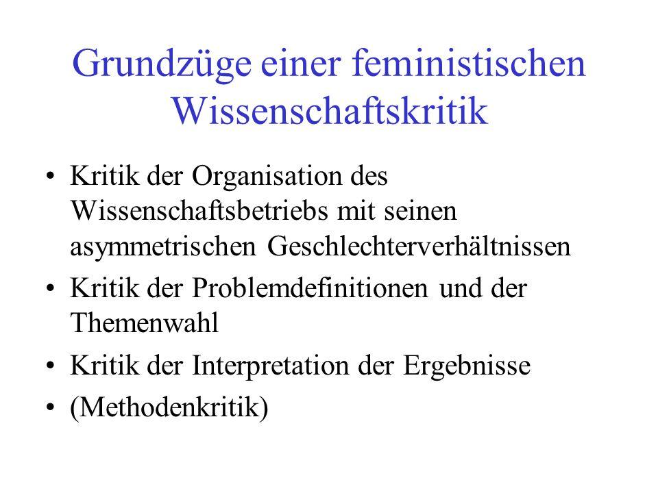 Grundzüge einer feministischen Wissenschaftskritik Kritik der Organisation des Wissenschaftsbetriebs mit seinen asymmetrischen Geschlechterverhältniss