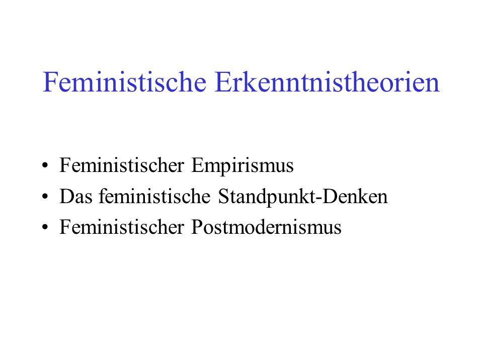 Feministische Erkenntnistheorien Feministischer Empirismus Das feministische Standpunkt-Denken Feministischer Postmodernismus