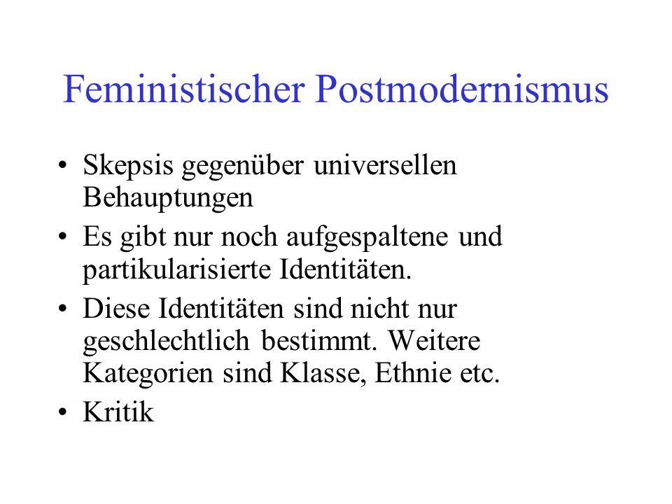 Feministischer Postmodernismus Skepsis gegenüber universellen Behauptungen Es gibt nur noch aufgespaltene und partikularisierte Identitäten. Diese Ide