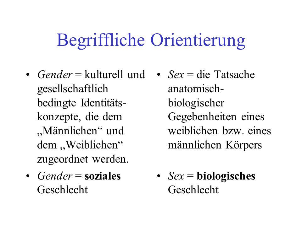 Begriffliche Orientierung Gender = kulturell und gesellschaftlich bedingte Identitäts- konzepte, die dem Männlichen und dem Weiblichen zugeordnet werd
