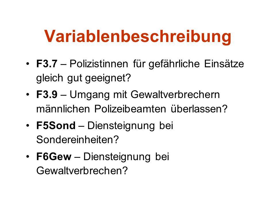 Variablenbeschreibung F3.7 – Polizistinnen für gefährliche Einsätze gleich gut geeignet? F3.9 – Umgang mit Gewaltverbrechern männlichen Polizeibeamten
