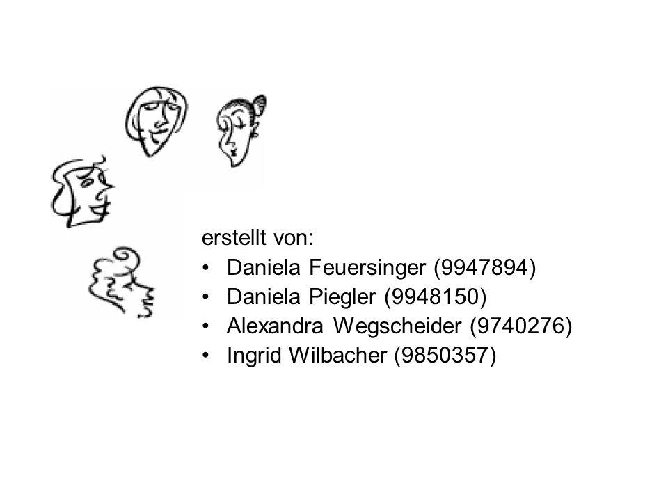 erstellt von: Daniela Feuersinger (9947894) Daniela Piegler (9948150) Alexandra Wegscheider (9740276) Ingrid Wilbacher (9850357)