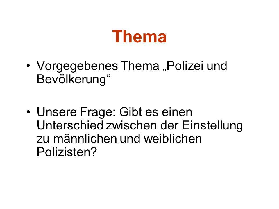 Thema Vorgegebenes Thema Polizei und Bevölkerung Unsere Frage: Gibt es einen Unterschied zwischen der Einstellung zu männlichen und weiblichen Polizis