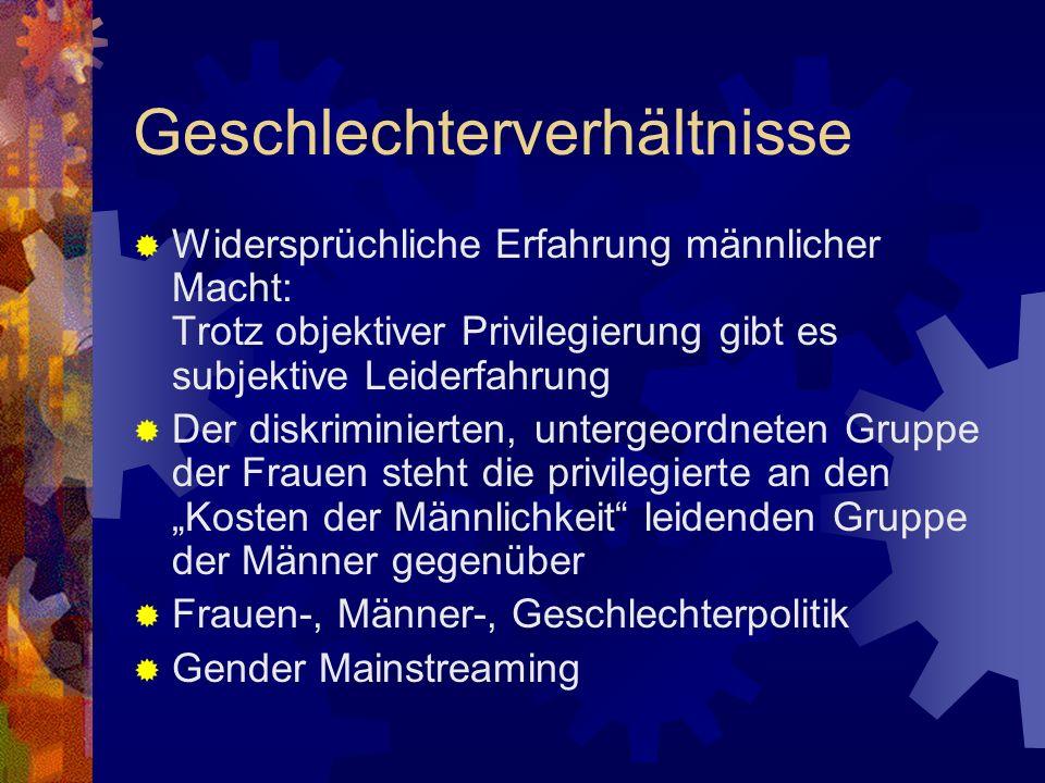 Geschlechterverhältnisse Widersprüchliche Erfahrung männlicher Macht: Trotz objektiver Privilegierung gibt es subjektive Leiderfahrung Der diskriminie