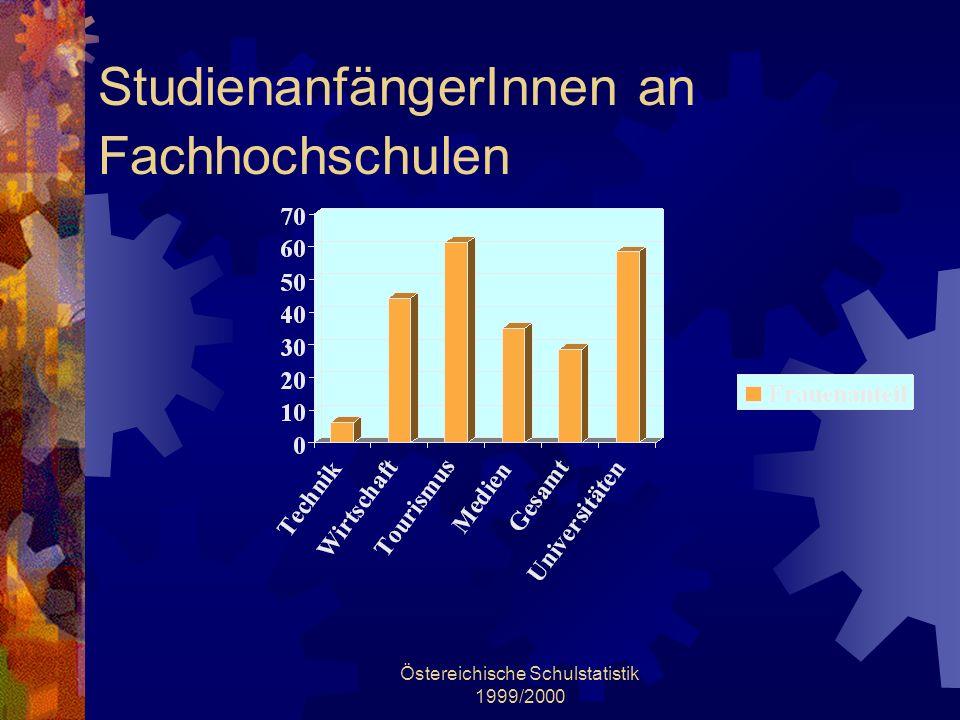 Östereichische Schulstatistik 1999/2000 StudienanfängerInnen an Fachhochschulen