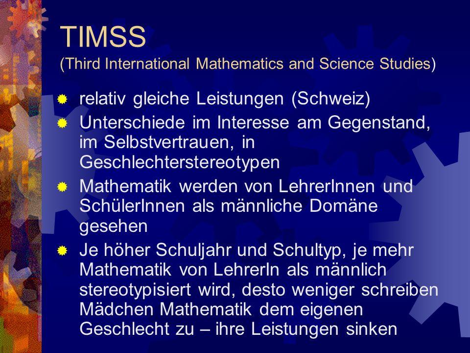 TIMSS (Third International Mathematics and Science Studies) relativ gleiche Leistungen (Schweiz) Unterschiede im Interesse am Gegenstand, im Selbstver