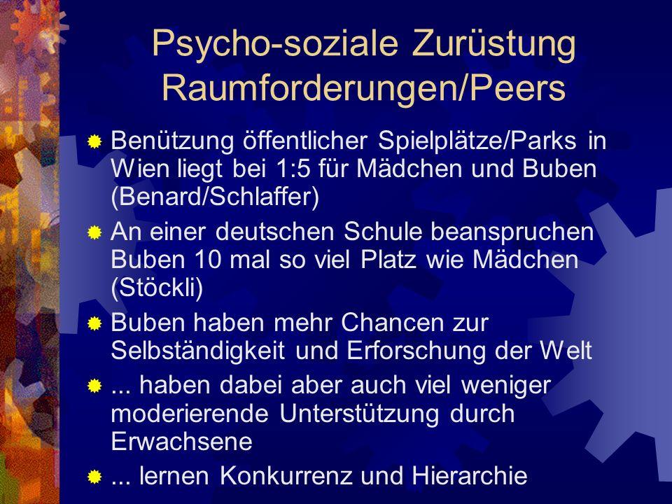 Psycho-soziale Zurüstung Raumforderungen/Peers Benützung öffentlicher Spielplätze/Parks in Wien liegt bei 1:5 für Mädchen und Buben (Benard/Schlaffer)
