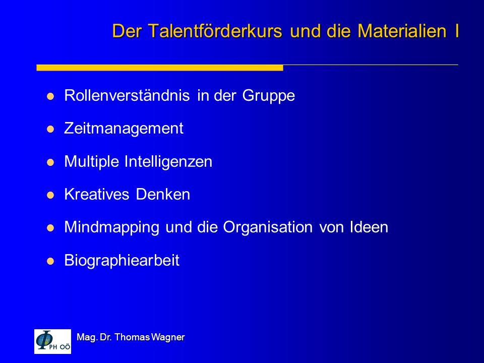 Mag. Dr. Thomas Wagner Rollenverständnis in der Gruppe Zeitmanagement Multiple Intelligenzen Kreatives Denken Mindmapping und die Organisation von Ide