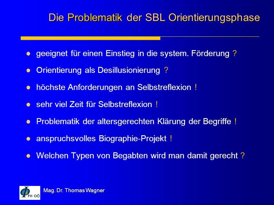 Mag. Dr. Thomas Wagner geeignet für einen Einstieg in die system. Förderung ? Orientierung als Desillusionierung ? höchste Anforderungen an Selbstrefl