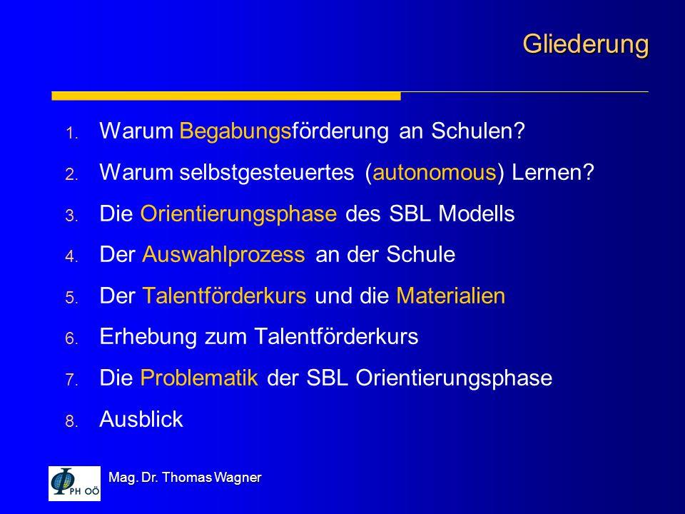 Mag. Dr. Thomas Wagner 1. Warum Begabungsförderung an Schulen? 2. Warum selbstgesteuertes (autonomous) Lernen? 3. Die Orientierungsphase des SBL Model