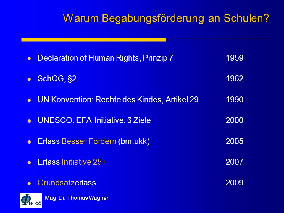 Mag. Dr. Thomas Wagner Declaration of Human Rights, Prinzip 71959 SchOG, §21962 UN Konvention: Rechte des Kindes, Artikel 291990 UNESCO: EFA-Initiativ